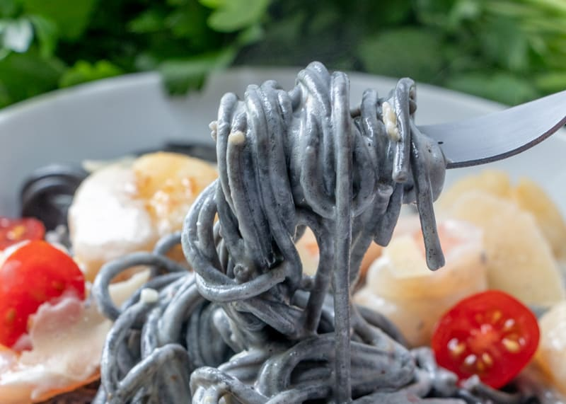 Black pasta twirling on a fork