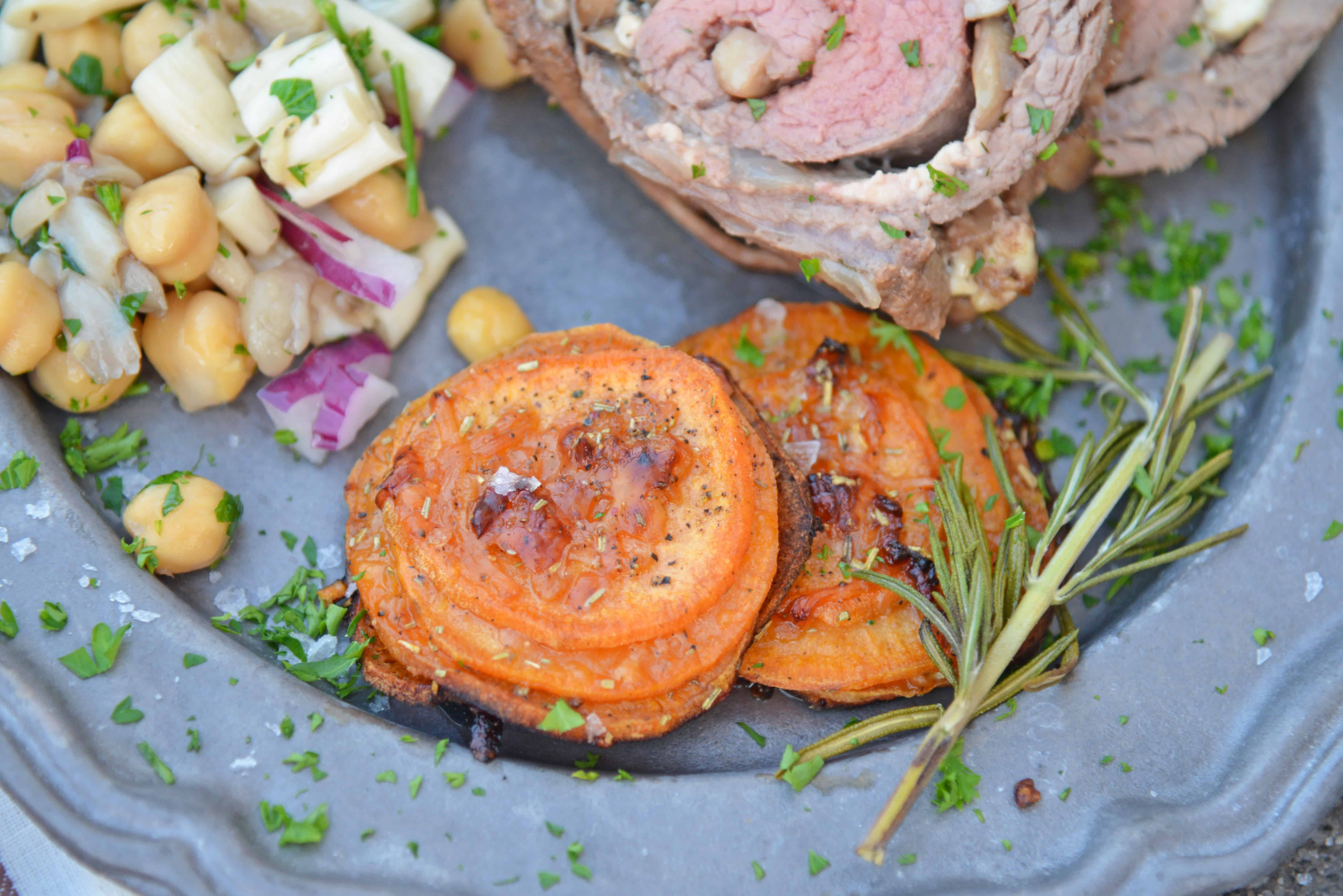 Rosemary Parmesan Sweet Potato Stacks Recipe