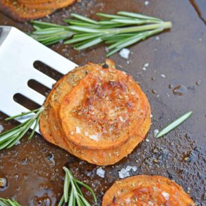 Rosemary Sweet Potato Stacks are a simple and visually appealing side dish or appetizer fit for any occasion. #sweetpotatostacks #sweetpotatoes www.savoryexperiments.com