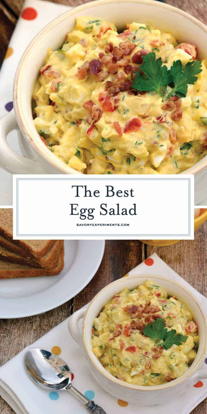 This is the freshest, best Egg Salad ever! Boiled Eggs mixed lightly with mayonnaise with sweet onion, red bell pepper, bacon and lemon juice! #eggsalad www.savoryexperiments.com