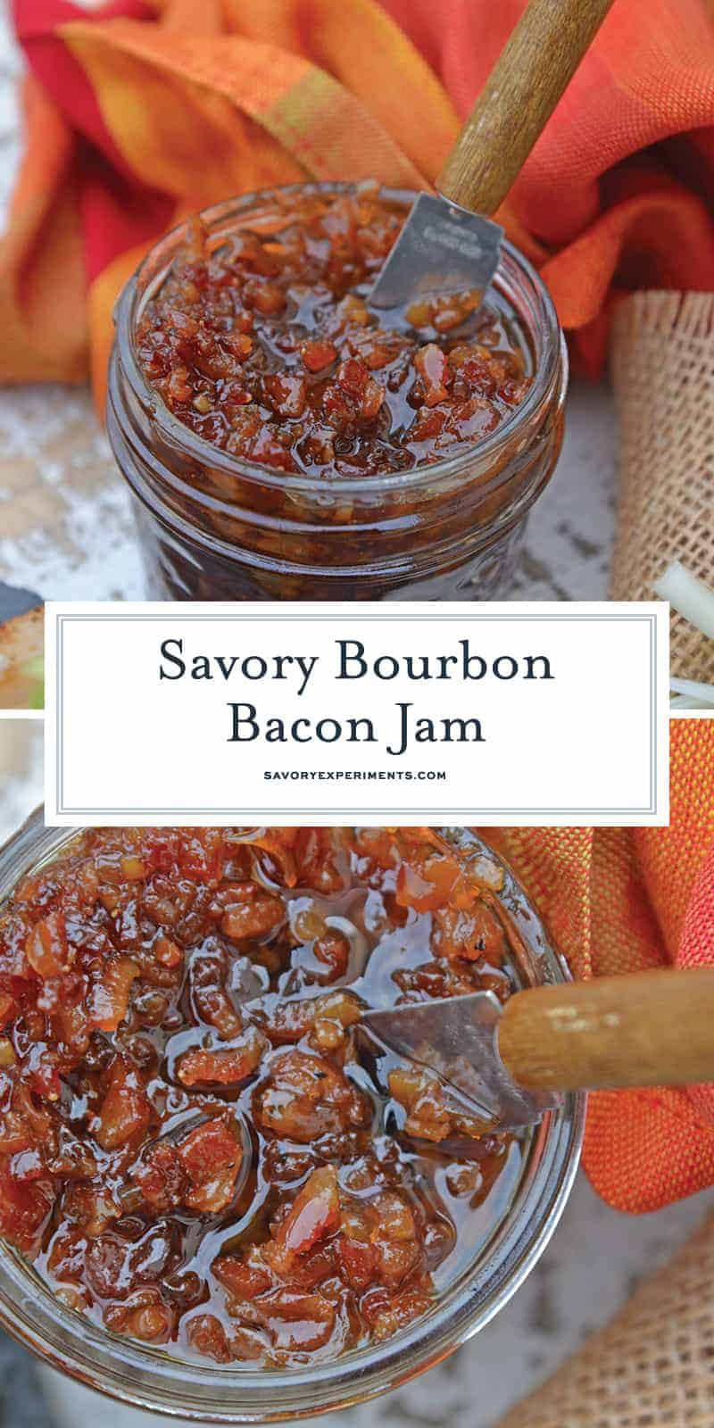 My Bourbon Bacon Jam Recipe will change the way you see jam. This jam is sweet and savory and also happens to be the most versatile condiment around.  #bourbon #bacon #baconjam www.savoryexperiments.com