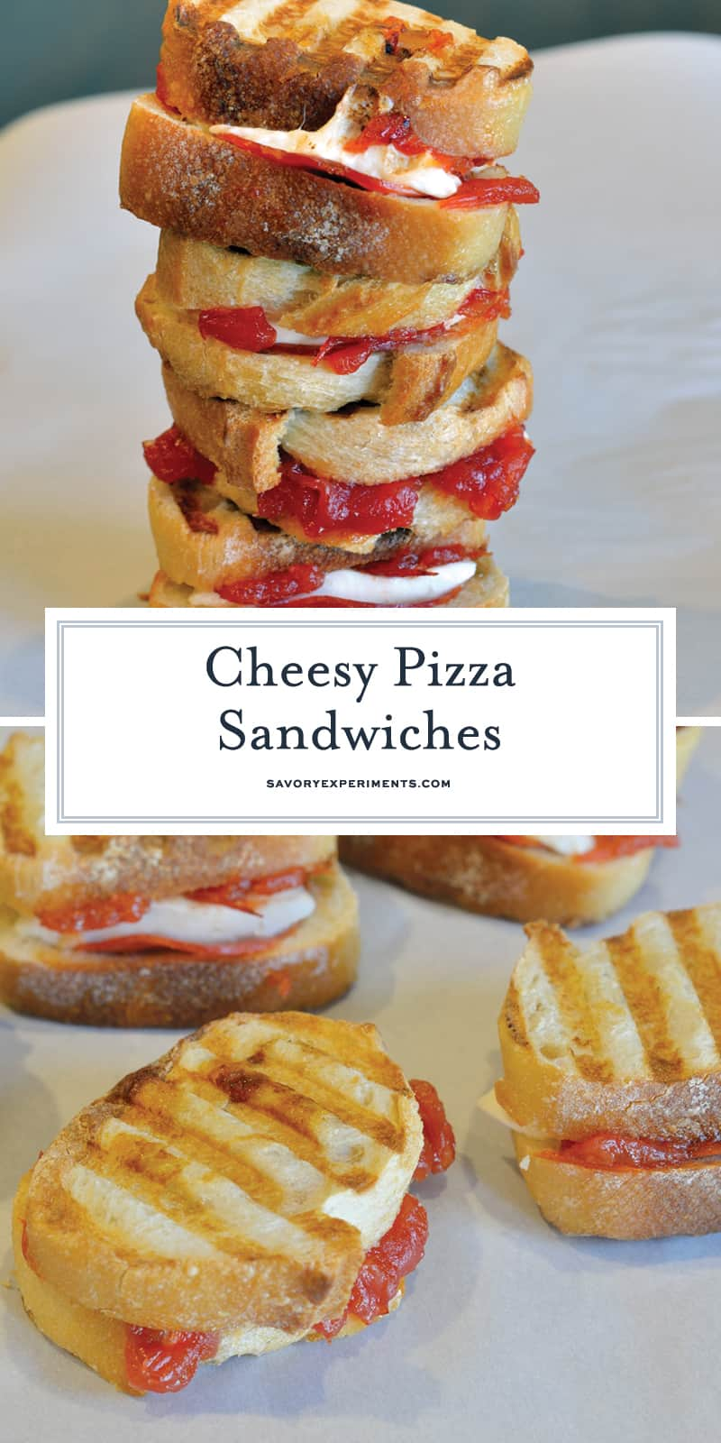 Cheesy Pizza Sandwiches are mini, slider-size grilled cheese sandwiches with mozzarella cheese, tomato jam and pepperoni. Kid friendly and great for parties! #pizzasandwiches www.savoryexperiments.com