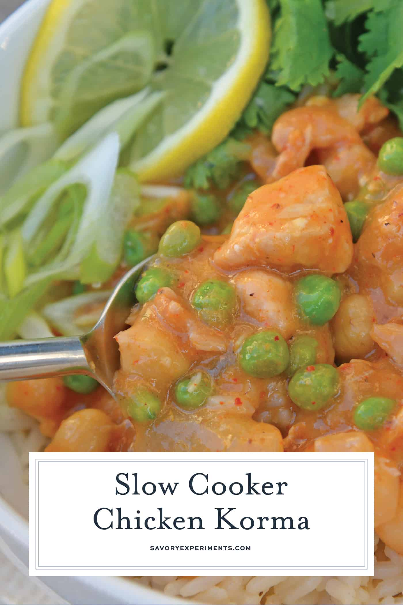 Slow Cooker Chicken Korma is a healthier way to prepare dinner! Only 10 minutes of prep time and into the pot! Loaded with dietary fiber and protein. #chickenkorma #easyindianrecipes #redcurryrecipes www.savoryexperiments.com