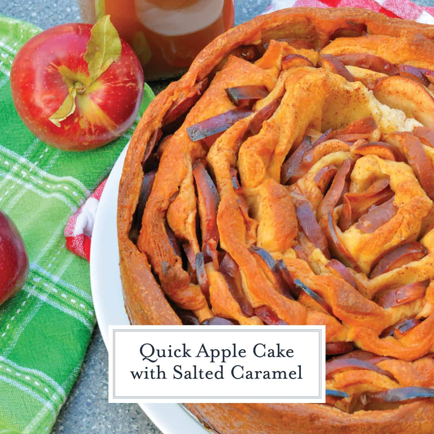 Quick Apple Cake is an easy cake that uses crescent rolls and fresh apple slices with butter, cinnamon and nutmeg. Top it off with salted caramel sauce for a decadent treat! #quickapplecake www.savoryexperiments.com