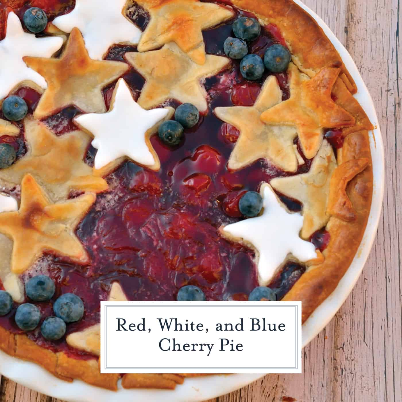Red, White and Blue Cherry Pie is an easy cherry pie recipe using cookie icing, blueberries and cookie cutters to make a stunning and cute pie perfect for any patriotic holiday! #cherrypie #4thofjulyrecipes www.savoryexperiments.com