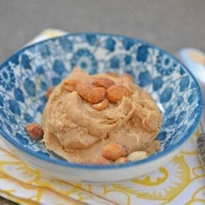Peanut butter cookie dough in a blue bowl