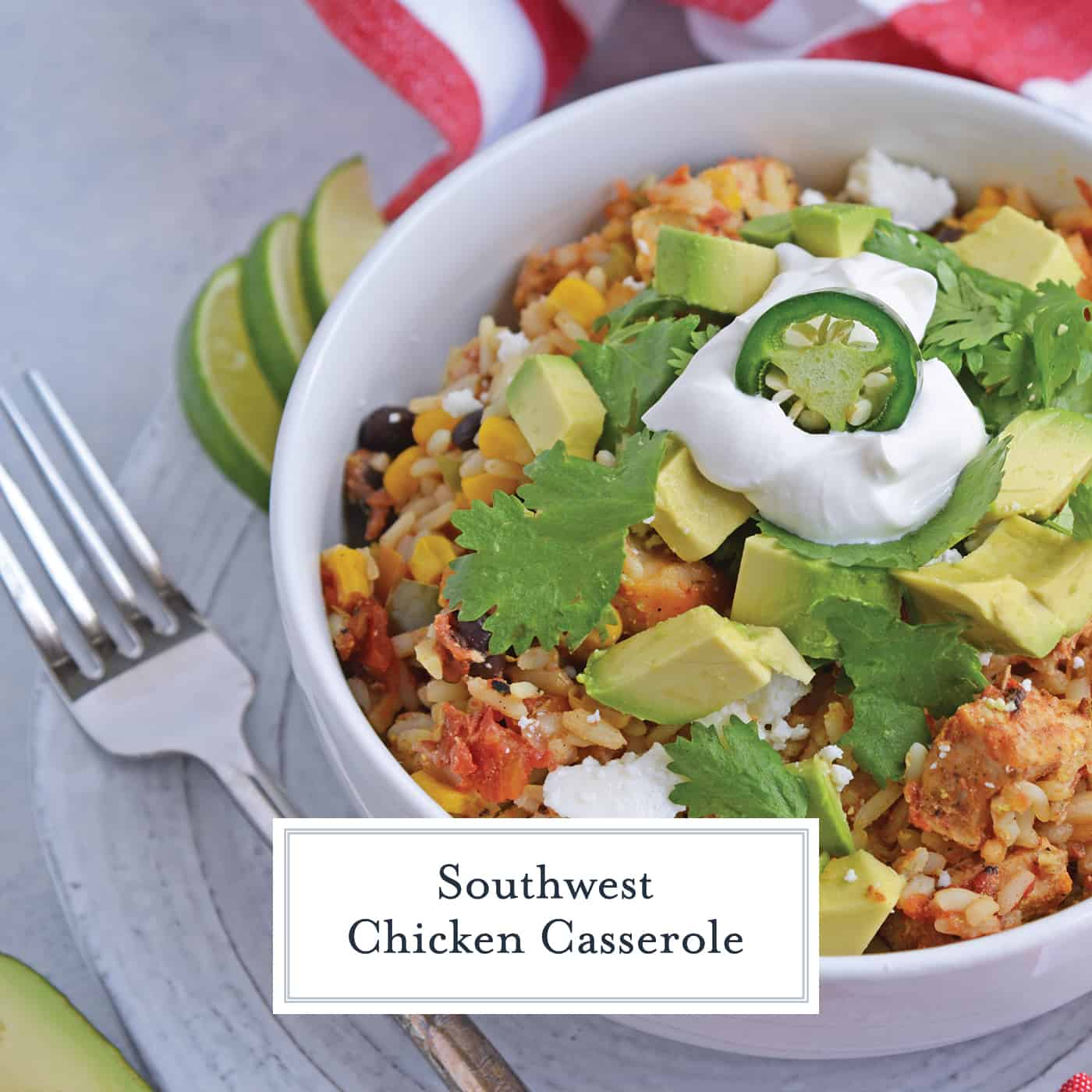 Southwest Chicken Casserole is an easy one-dish meal using chicken, rice, black beans, tomato, corn and southwest spices.#chickencasserole #onedishchickenrecipe www.savoryexperiments.com