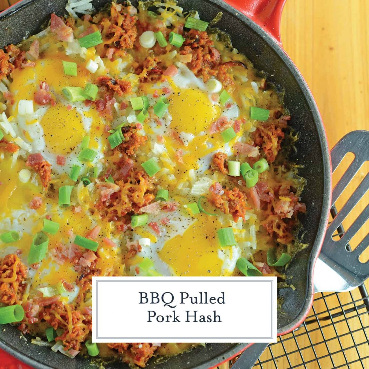 BBQ Pulled Pork Hash is my hands down, favorite Sunday brunch recipe. Ready in only 15 minutes and easily modified, it is simple and tasty. #bbqpulledpork #breakfasthash www.savoryexperiments.com