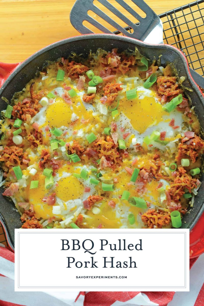 Overhead of pulled pork hash with eggs
