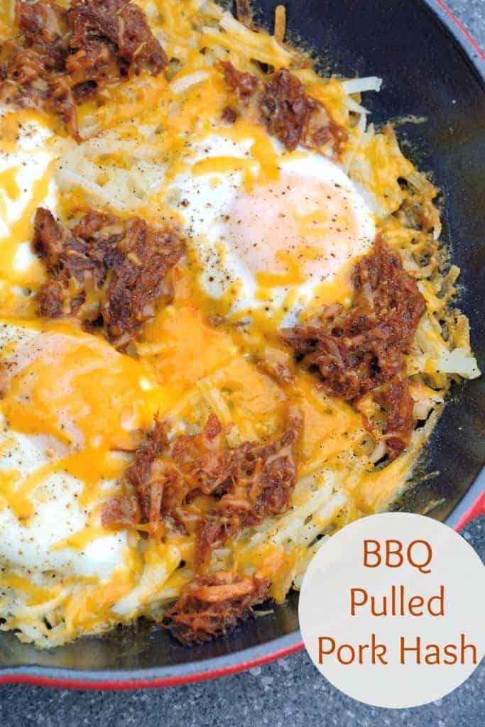 BBQ Pulled Pork Hash is my hands down, favorite Sunday brunch recipe. Ready in only 15 minutes and easily modified, it is simple and tasty. | #pulledpork | www.savoryexperiments.com