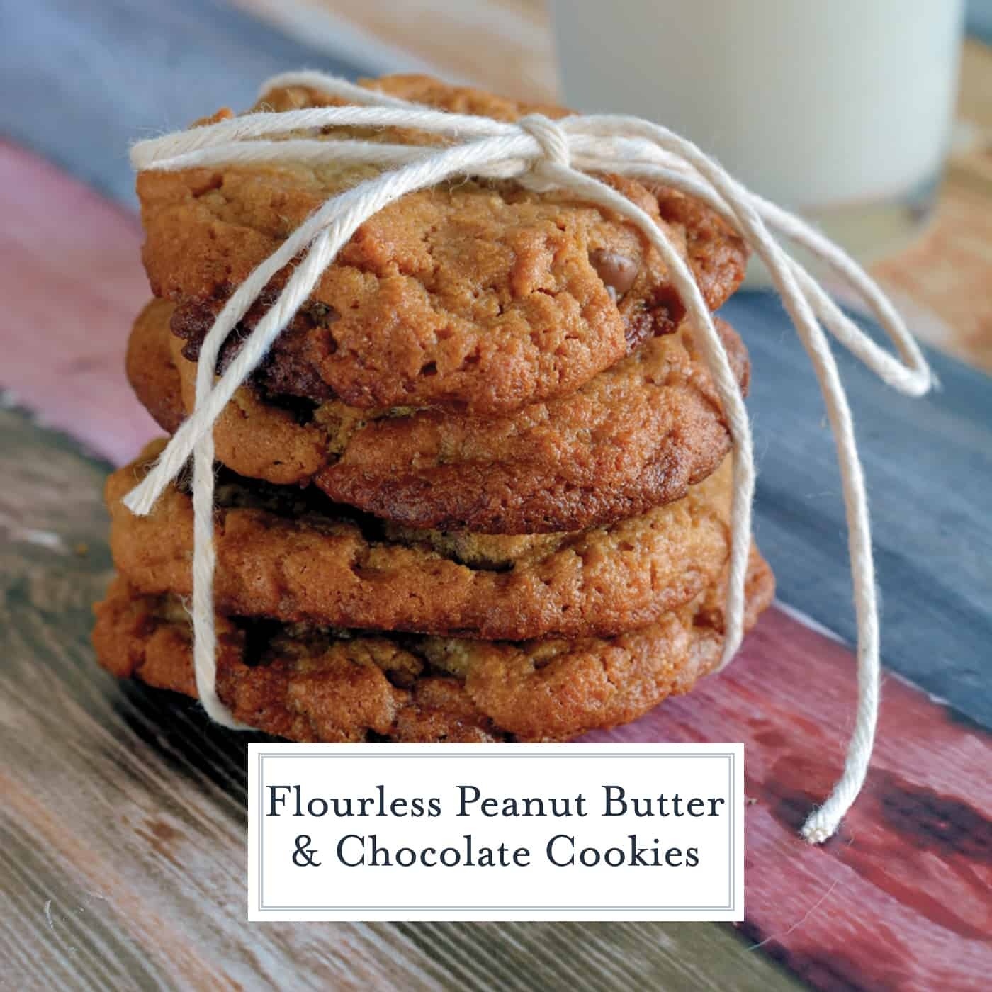 Flourless Peanut Butter Chocolate Chip Cookies are gluten-free and easy to make! A twist on classic peanut butter cookies. #flourlesscookies #glutenfreecookies www.savoryexperiments.com