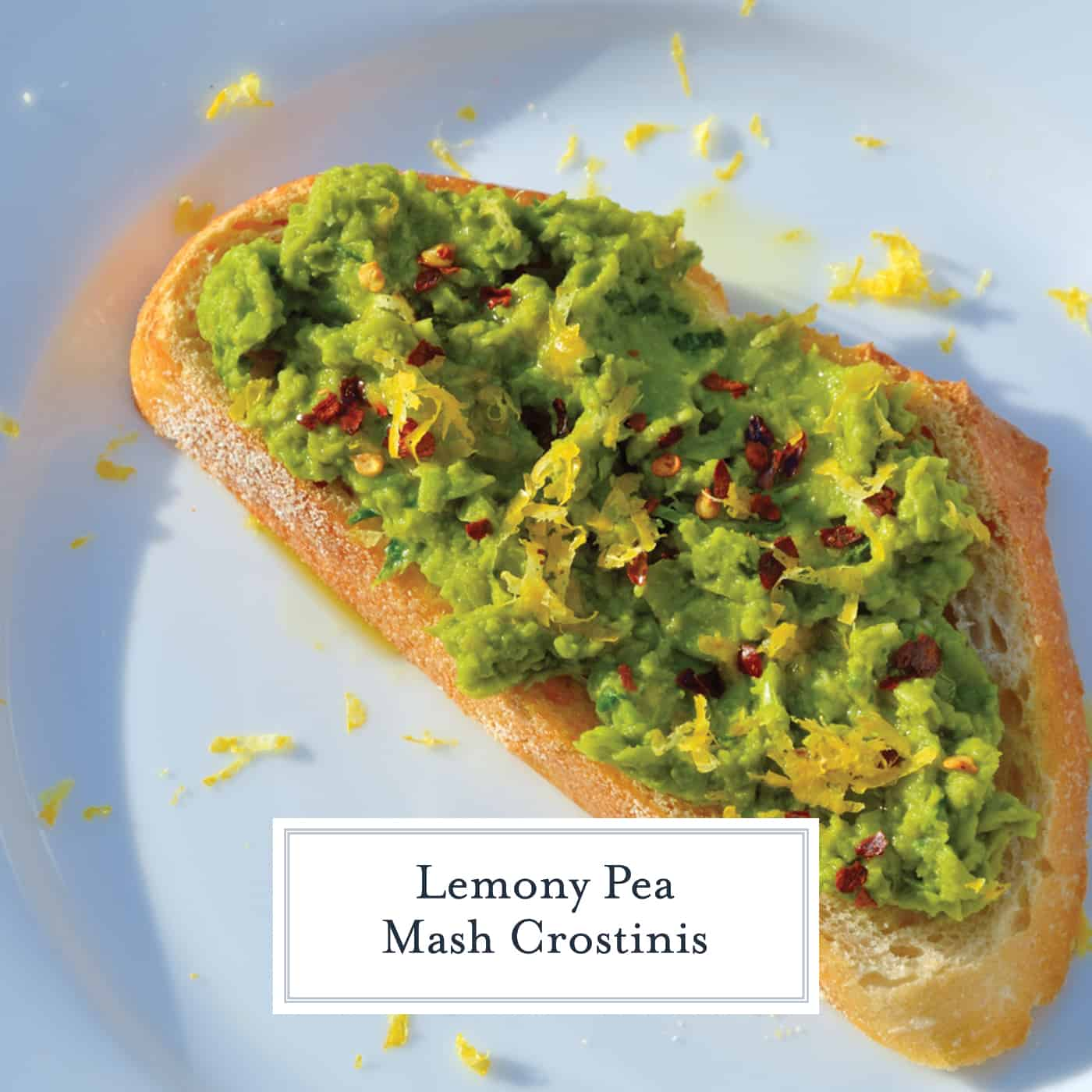 Lemony Pea Mash uses vibrant green peas with garlic and lemon to make a crunchy crostini that varies in taste and texture. #mashedpeas #crostinirecipes www.savoryexperiments.com