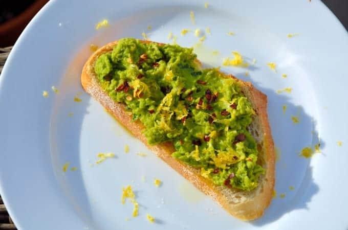 Lemony Pea Mash Crostinis