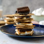 pile of smores made in the oven