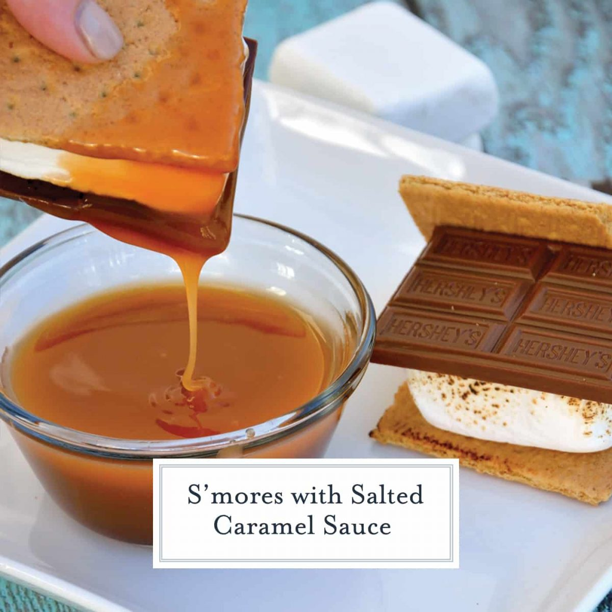 How do you take a traditional s'mores recipes and take it up a notch? Add salted caramel sauce! #smoresrecipe www.savoryexperiments.com