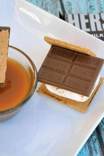 S'mores with Salted Caramel Sauce- take your s'mores up a notch by adding caramel! | #LetsMakeSmores #Ad | www.savoryexpeirments.com