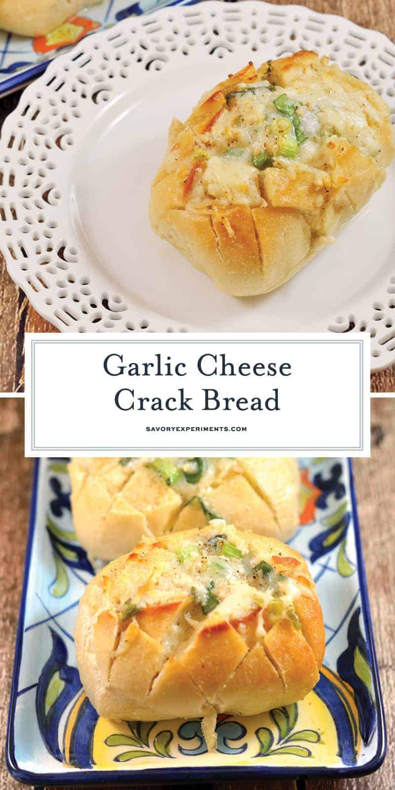 Individual Garlic Cheese Crack Bread is bread cut in a crisscross pattern, stuffed with cheese, drenched in  garlic butter and baked to golden perfection. #garlicbread #crackbread www.savoryexperiments.com