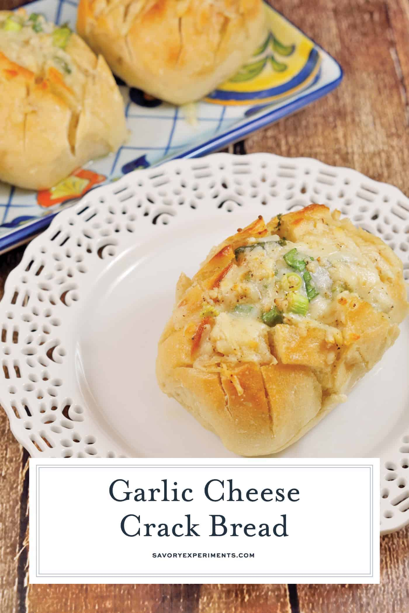 Individual Garlic Cheese Crack Bread is bread cut in a crisscross pattern, stuffed with cheese, drenched in garlic butter and baked to golden perfection.#garlicbread #crackbread www.savoryexperiments.com
