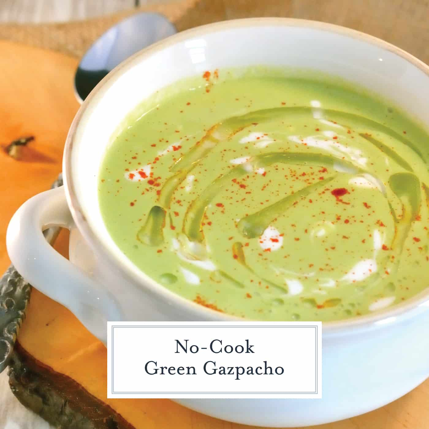 Green Gazpacho is a chilled soup made from cucumber, tomatillos and jalapenos with a yogurt base. A perfect make ahead soup to serve on a hot summer day! #gazpachoreciep #chilledsoup www.savoryexperiments.com