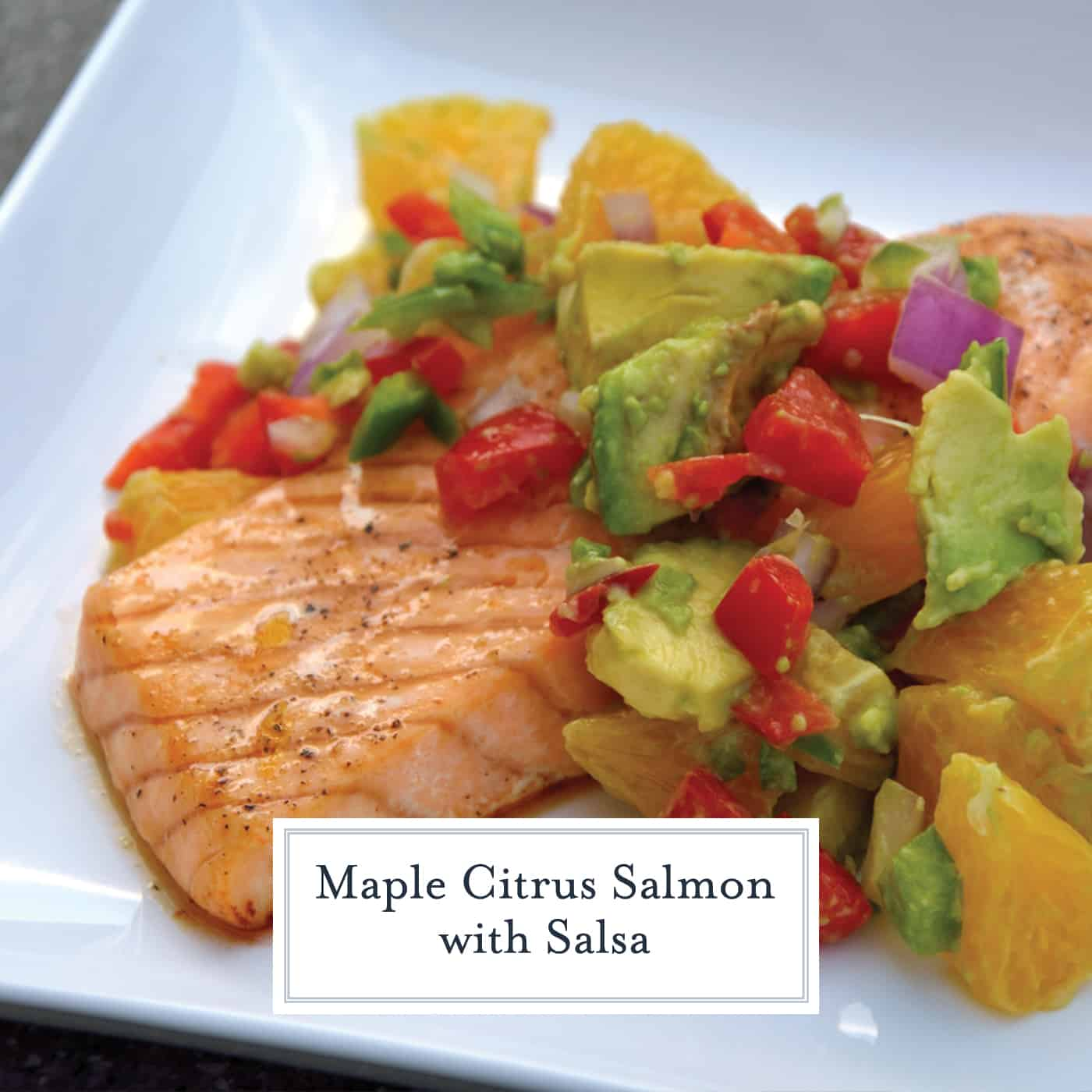 Maple Citrus Salmon with Orange-Avocado Salsa is a healthy and easy baked salmon recipe perfect for any quick weeknight meal.#salmonrecipes #bakedsalmon www.savoryexperiments.com