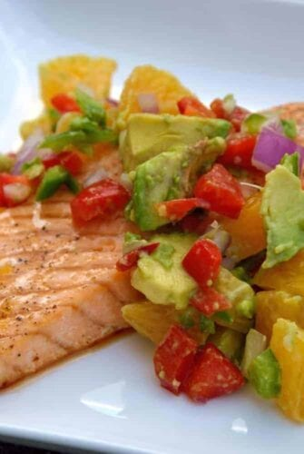 Maple Citrus Salmon with Orange-Avocado Salsa is a quick, healthy and colorful meal. | #salmon | www.savoryexperiments.com