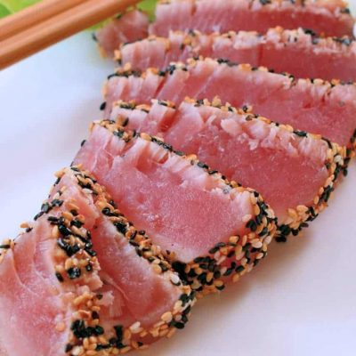 Sesame Crusted Tuna with Wasabi Whipped Cream is an easy and healthy meal that comes together in 15 minutes. #tunarecipe #tunasteakrecipe www.savoryexperiments.com