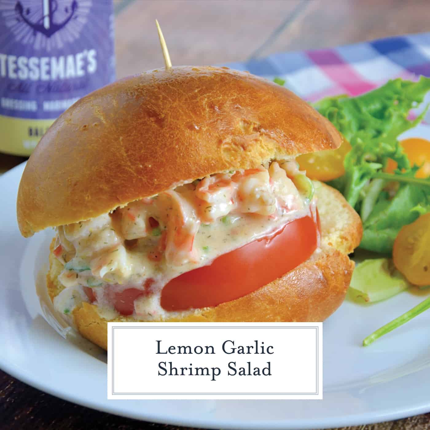 Lemon Garlic Shrimp Salad is a healthier version of classic comfort food using plain yogurt, celery, carrots, chives, dill and spices on a buttery brioche roll. #shrimpsaladrecipe www.savoryexperiments.com