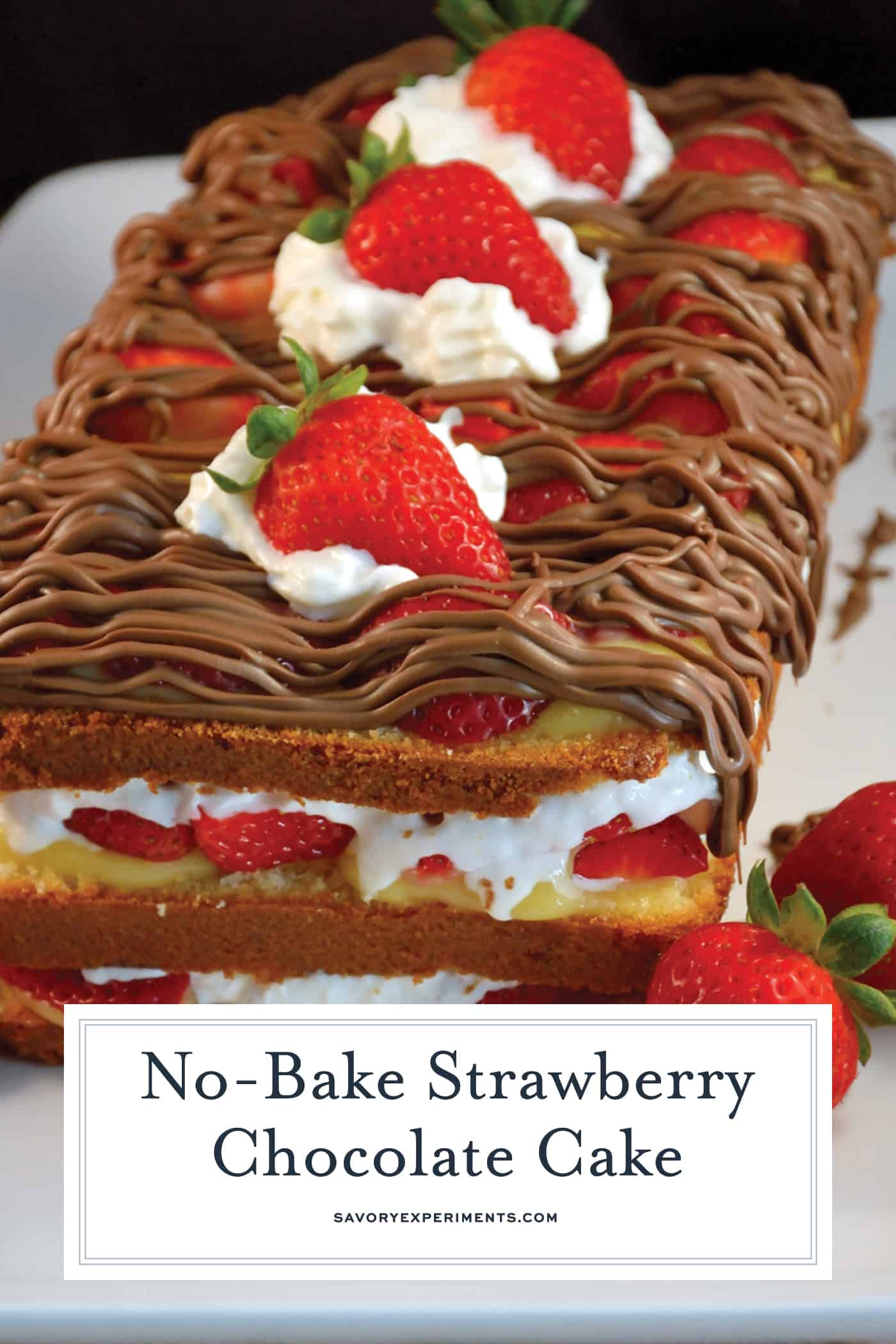 No-Bake Chocolate Strawberry Cake combines layers of pound cake with fresh strawberries, milk chocolate and whipped cream. It can be made ahead and is perfect for parties! #nobakecake #nobakedesserts www.savoryexperiments.com