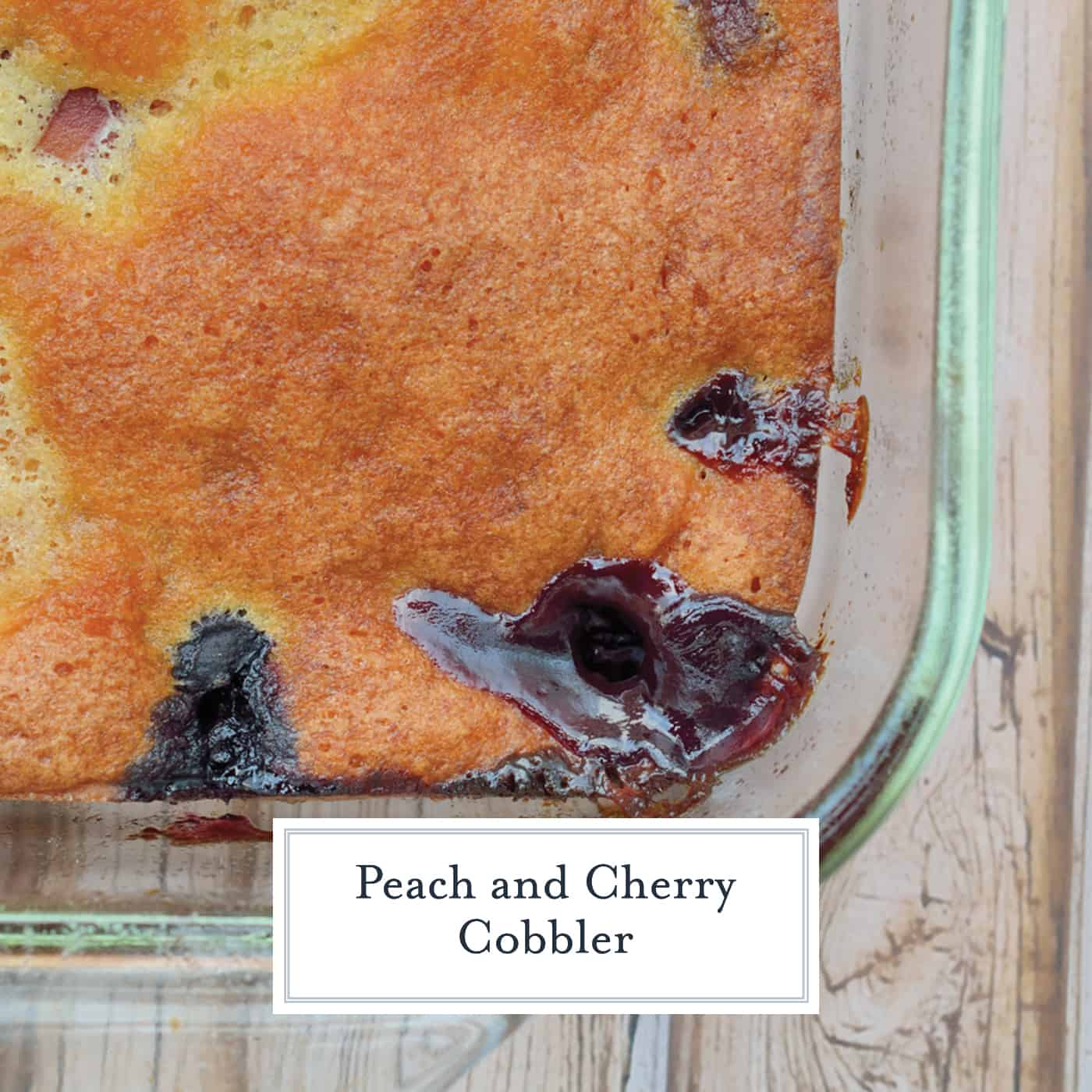 Peach and Cherry Cobbler is an easy cobbler recipe perfect for brunch or dessert. Serve with a scoop of vanilla bean ice cream!  #cobblerrecipe #homemadecobbler www.savoryexperiments.com