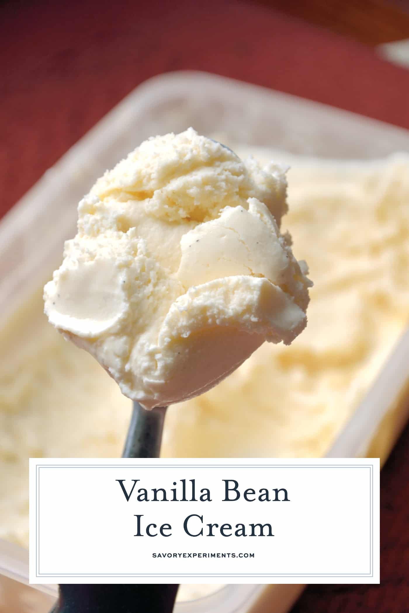 Make Vanilla Bean Ice Cream from scratch using whole vanilla beans and real cream. Homemade Ice Cream in an ice cream maker for the win!#icecreammakericecream #homemadevanillaicecream #vanillabeanicecream www.savoryexperiments.com