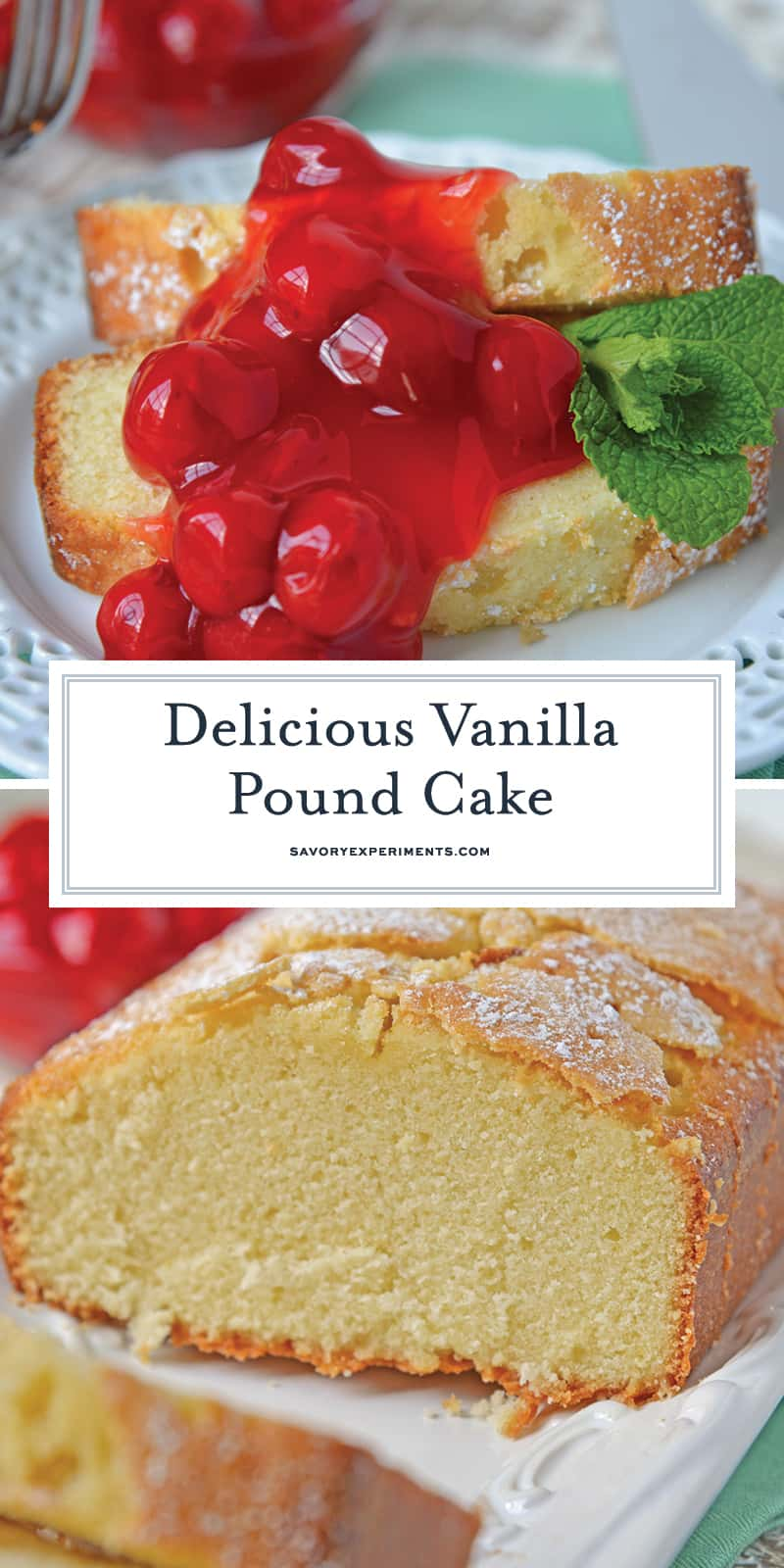 A classic Vanilla Pound Cake Recipe should be in every cook's recipe box. This is by the far best, soft and buttery pound cake out there! #poundcakerecipe #vanillapoundcake www.savoryexperiments.com