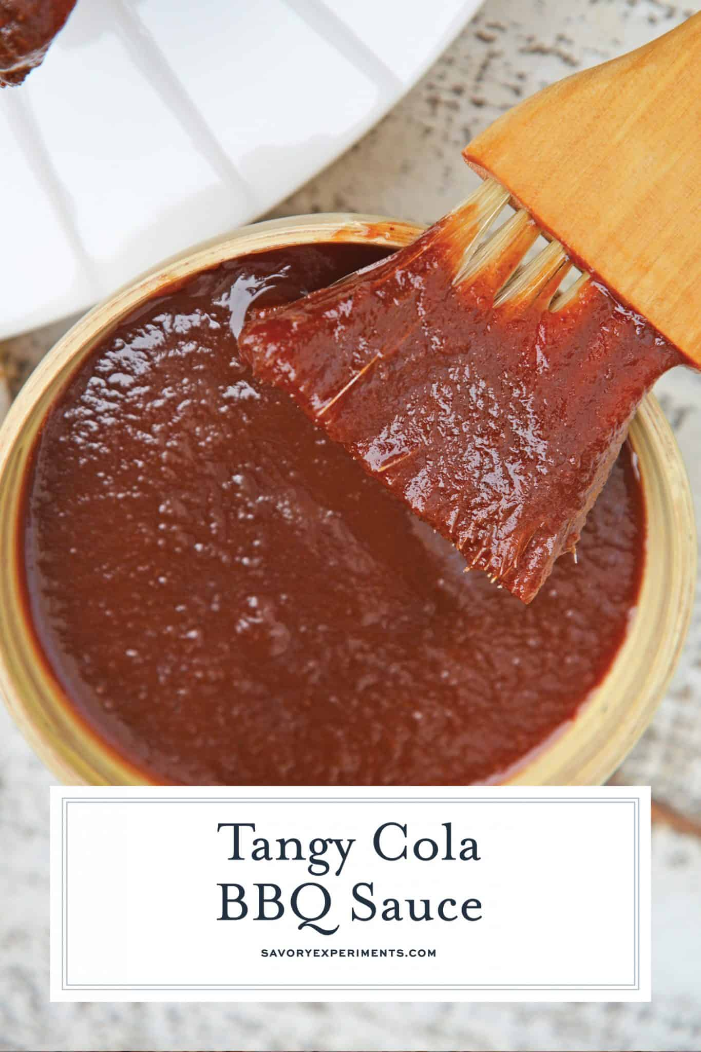 Zesty Cola BBQ Sauce is delicious on anything grilled including chicken, ribs, brisket and pulled pork. It only takes 10 minutes to make! #colabbqsauce #homemadebbqsauce www.savoryexperiments.com
