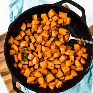 overhead of pan fried sweet potatoes