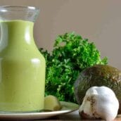 Avocado Green Goddess Dressing with garlic, cilantro and an avocado