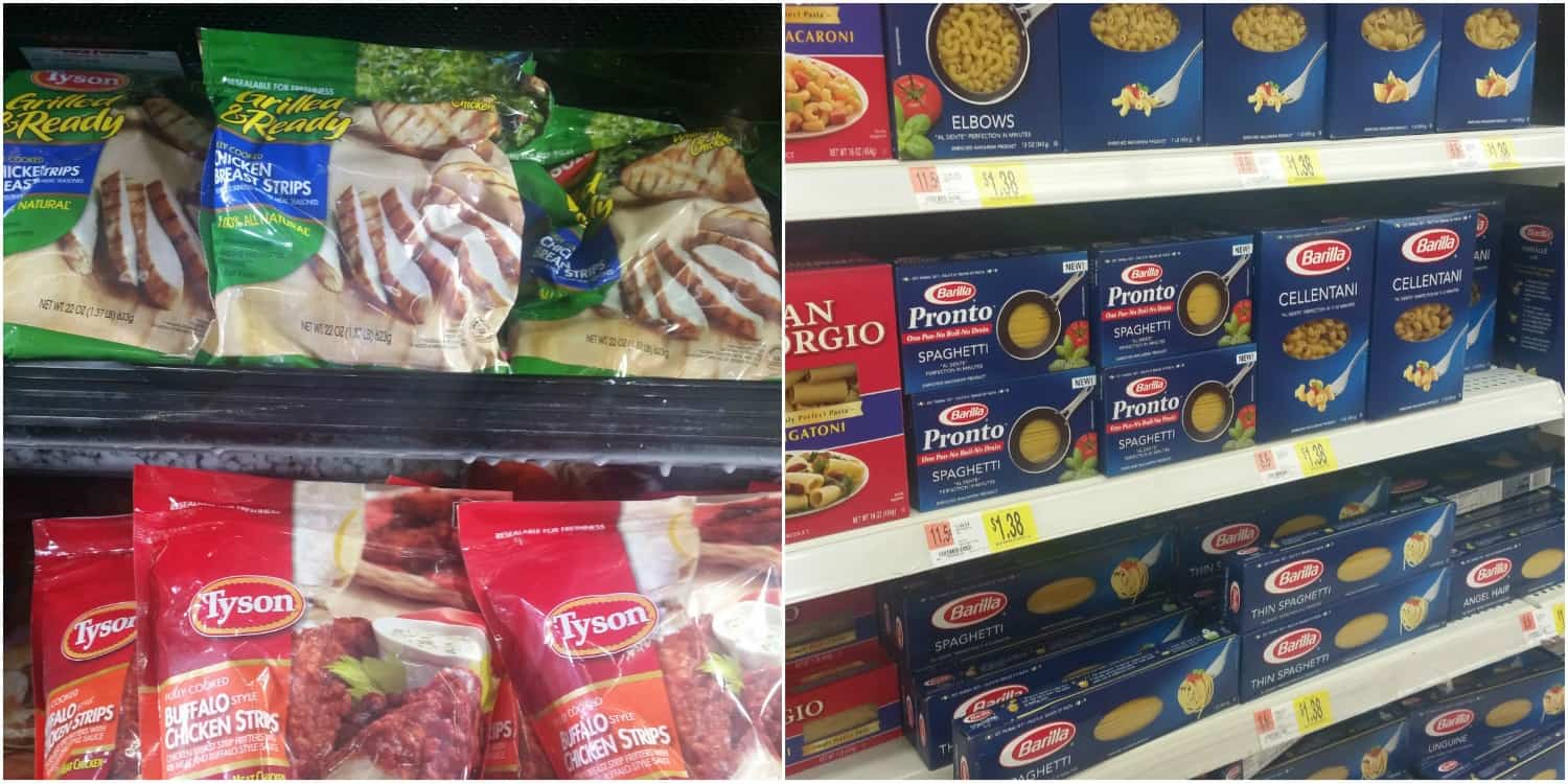 Barilla Pronto Pasta (in the pasta aisle) and Tyson Grilled and Ready Strips (in the frozen food section) at Walmart.