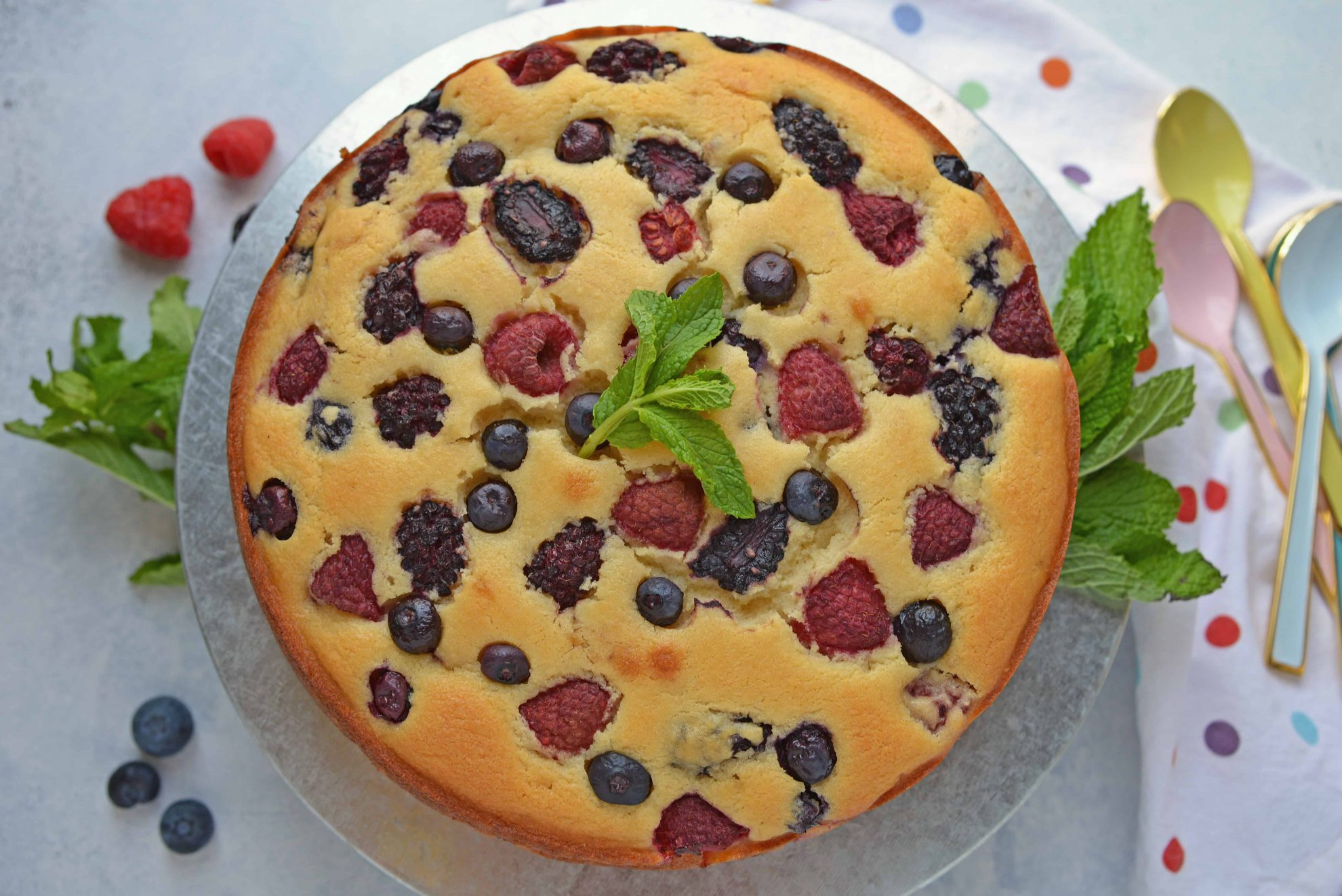 Berry Ricotta Cheesecake is a crustless homemade cheesecake recipe using smooth ricotta and fresh or frozen berries. The ultimate fruit cheesecake recipe!#homemadecheesecakerecipe #ricottacheesecake www.savoryexperiments.com