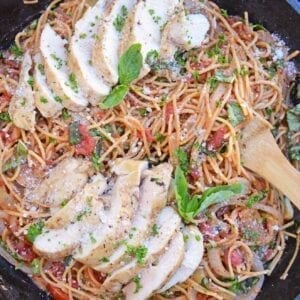 Chicken Bruschetta Pasta in a Cast Iron Skillet