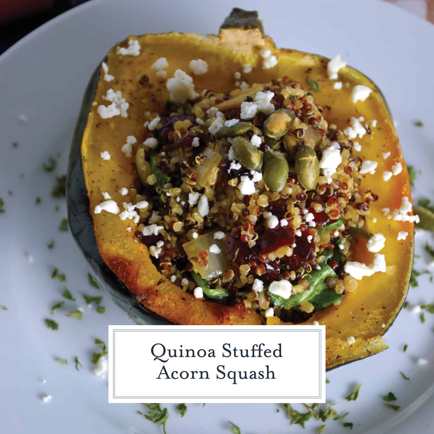 Quinoa Stuffed Acorn Squash is an amazing fall entree or side dish. Chicken sausage, cranberries, pepitas, and feta cheese make this recipe a winner. #quinoastuffedacornsquash #acornsquash #stuffedsquash www.savoryexperiments.com
