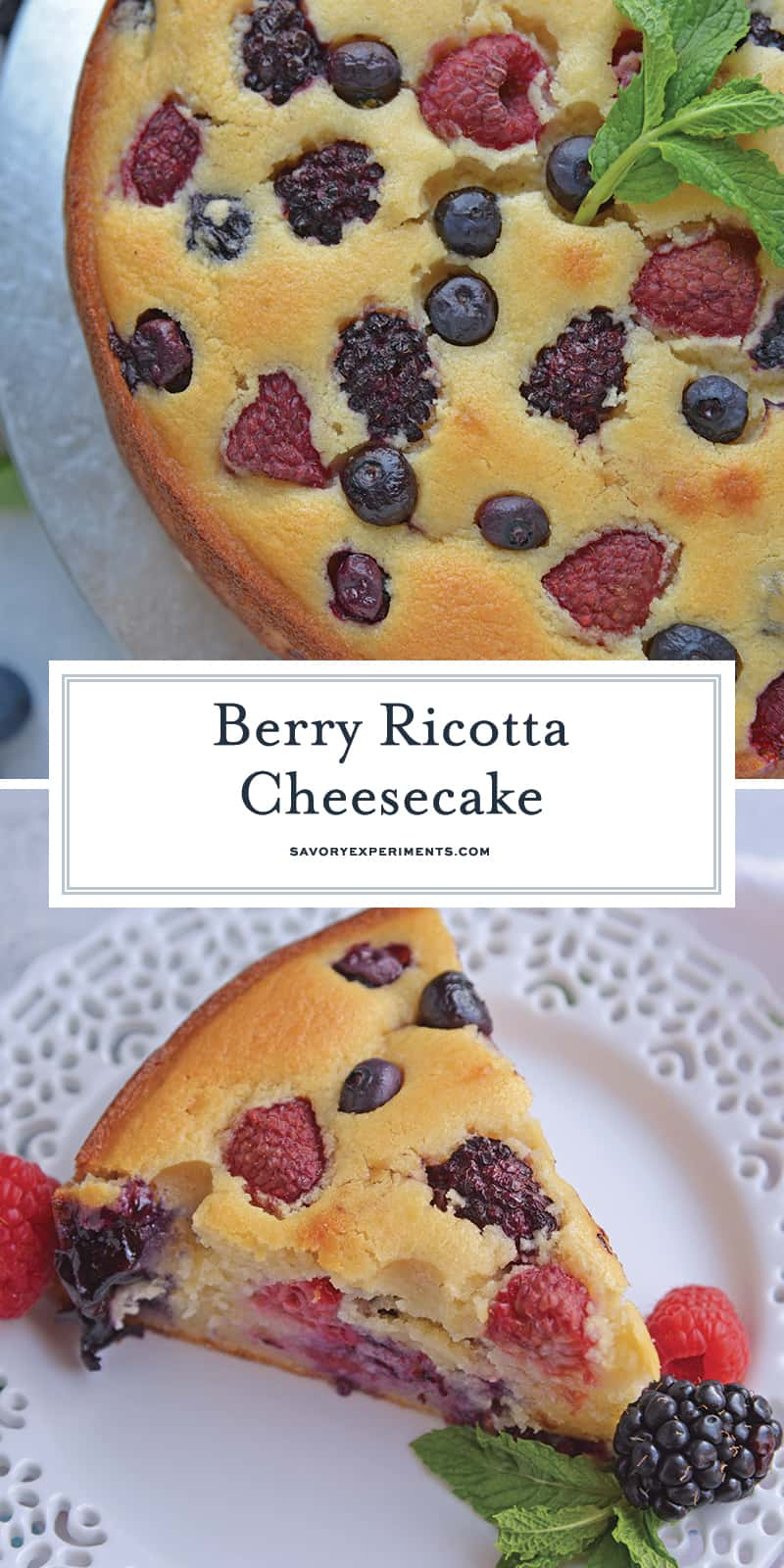 Berry Ricotta Cheesecake is a crustless homemade cheesecake recipe using smooth ricotta and fresh or frozen berries. The ultimate fruit cheesecake recipe! #homemadecheesecakerecipe #ricottacheesecake www.savoryexperiments.com