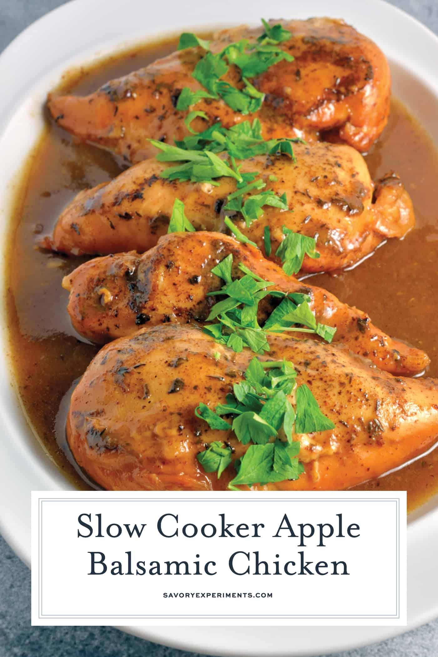 Slow Cooker Apple Balsamic Chicken is big on flavor and a bonafide crowd pleaser. Serve with buttered rice or noodles for a simple and delicious meal. #slowcookerapplebalsamicchicken #slowcooker #balsamicchicken www.savoryexperiments.com
