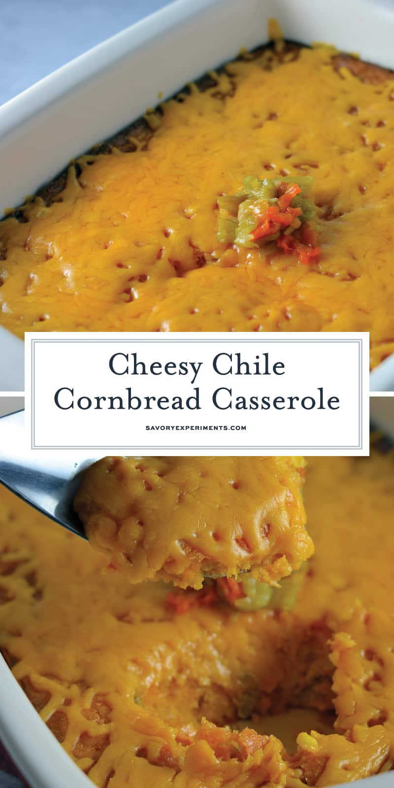 Cheesy Chile Cornbread Casserole pairs the sweetness of cornbread with the subtle heat of hatch chiles and chile powder for an incredible side dish.  #cornbread #hatchchiles #casserole www.savoryexperiments.com