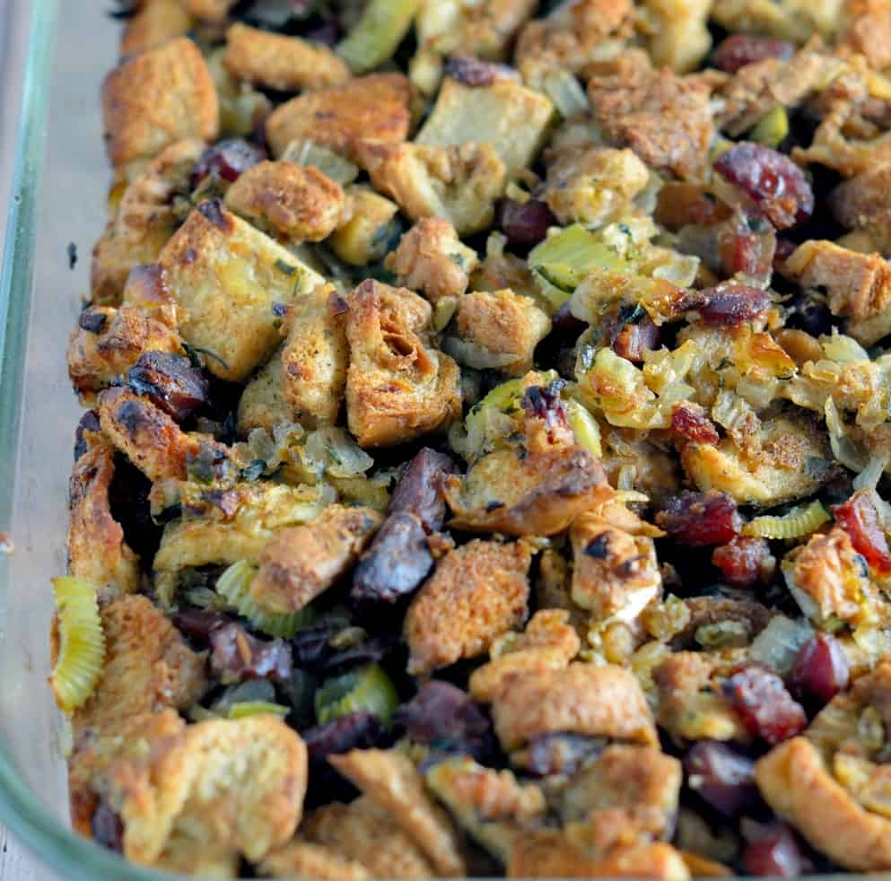Chinese Sausage Stuffing Recipe is a unique blend of sweet and savory making it the perfect holiday side dish for any turkey recipe. #stuffing #chinesesausage #thanksgiving www.savoryexperiments.com