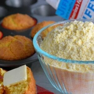 Copycat Jiffy Cornbread Muffin Mix is the perfect, sweet accompaniment to any meal. With just a few simple ingredients, you can make your very own mix.  #copycatcornbread #jiffymix www.savoryexperiments.com