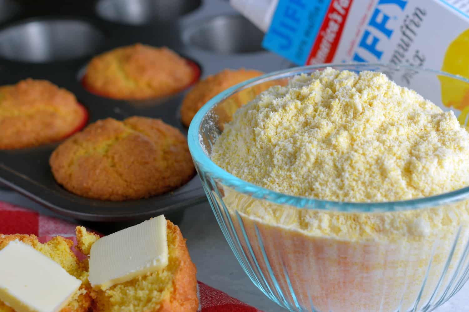 Copycat Jiffy Cornbread Muffin Mix is the perfect, sweet accompanimentto any meal. With just a few simpleingredients, you can make your very own mix. #copycatcornbread #jiffymix www.savoryexperiments.com