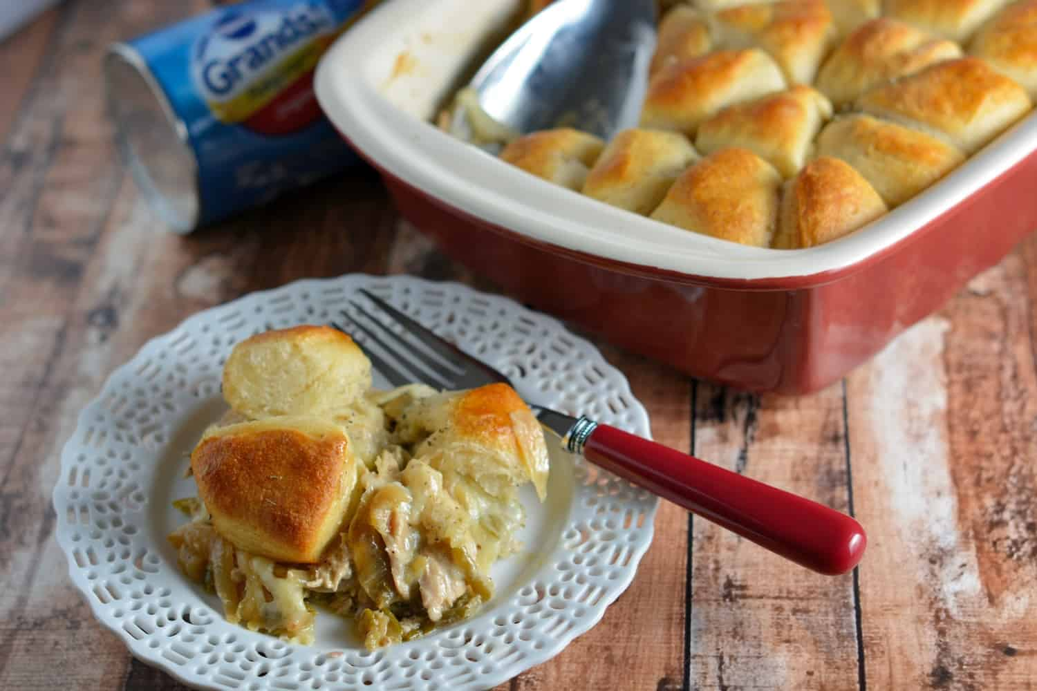 French Onion Chicken Casserole is a one-dish meal that blends tender shredded chicken and green beans in a creamy sauce, topped with Swiss cheese and buttery Grands biscuits. It is soon to be your new family favorite!