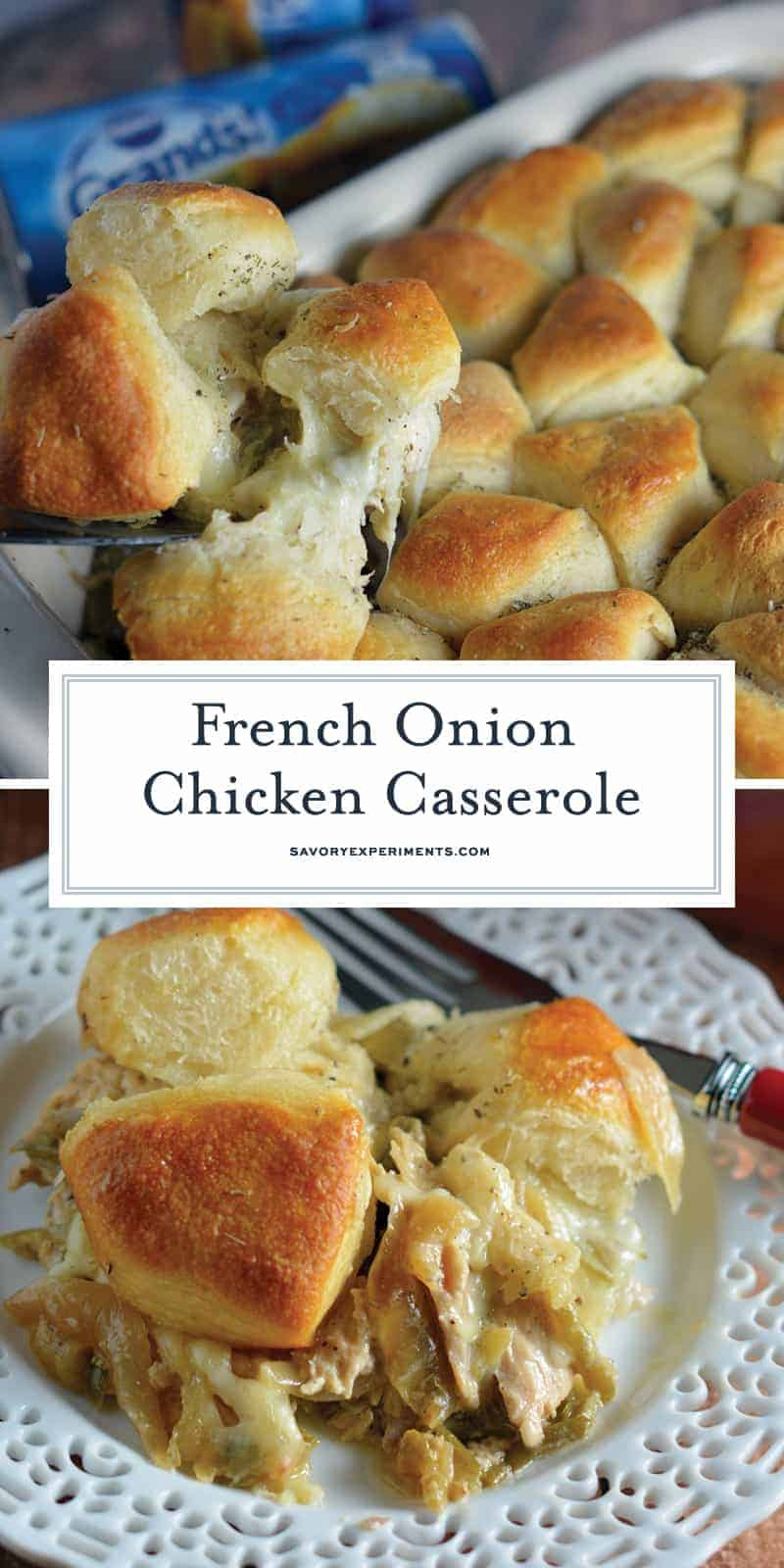French Onion Chicken Casserole is a one-dish meal that blends chicken, green beans, a creamy sauce, and buttery biscuits. It's 100% delicious! #frenchonion #chickencasserole www.savoryexperiments.com