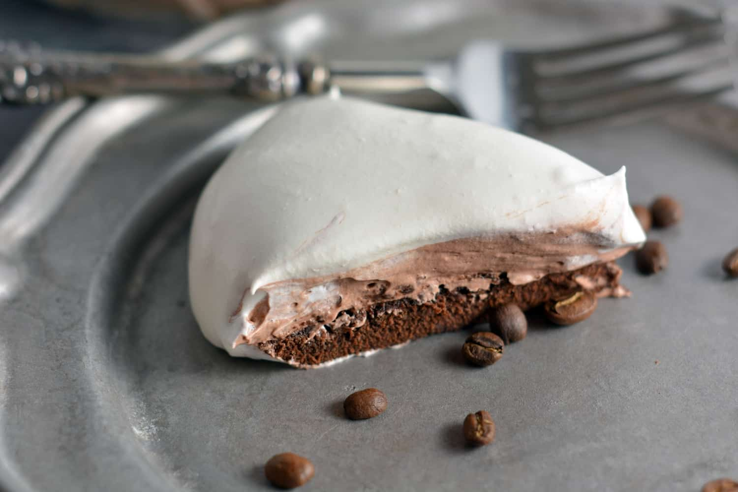 Mocha Cream Pie Recipe- Three layers of brownie base, chocolate pudding and whipped cream top.