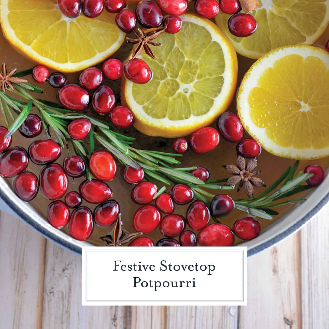 Stovetop Potpourri is a simple way to crank up the holiday cheer in your home using ingredients you probably already have in your refrigerator.  #aromatics #stovetoppotourri www.savoryexperiments.com