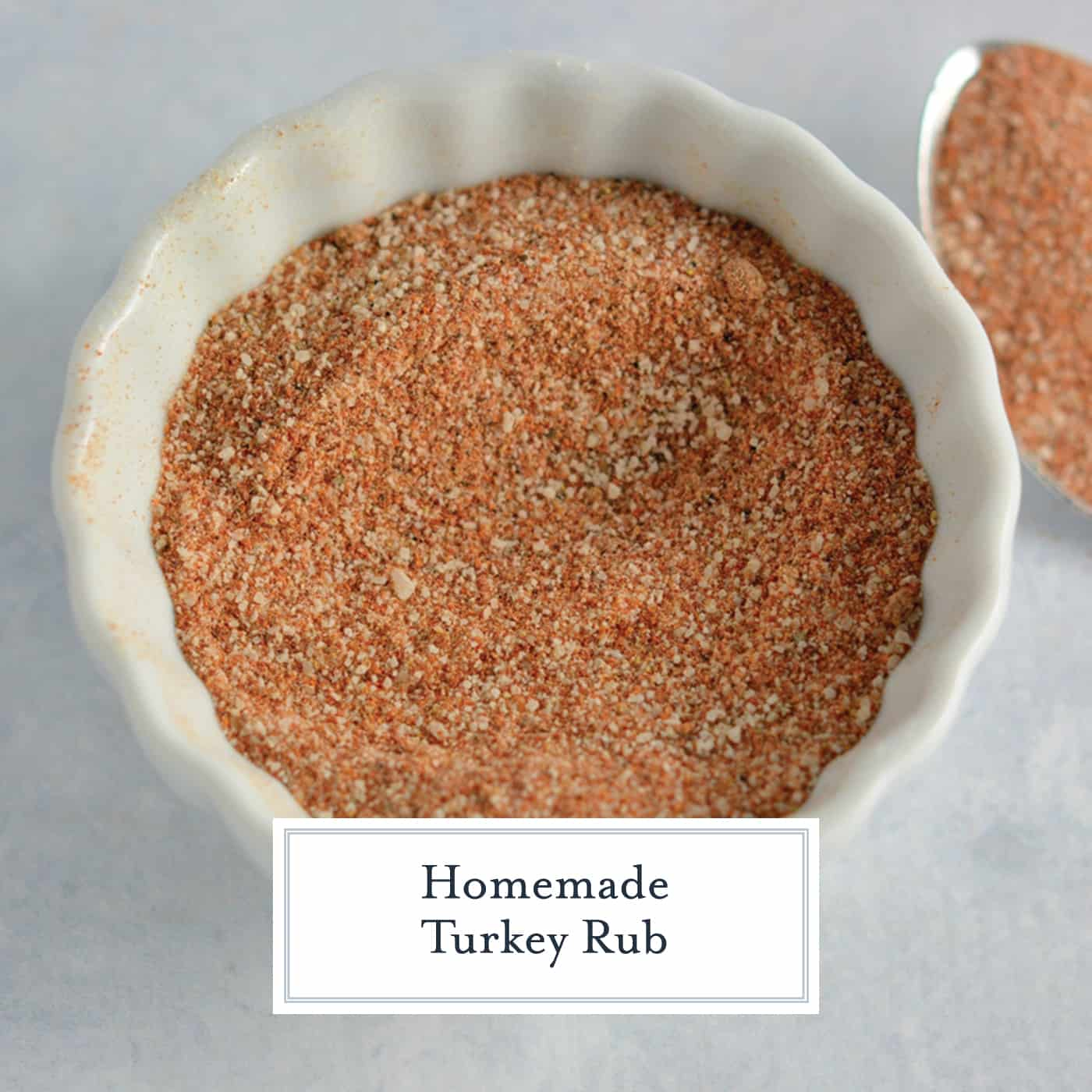 Homemade Turkey Rub is a blend of 6 easy spices and herbs to make for a flavorful and delicious roast turkey! Use it on chicken, beef and more! #turkeyrubrecipe #homeademturkeyrub #thanksgivingturkey www.savoryexperiments.com