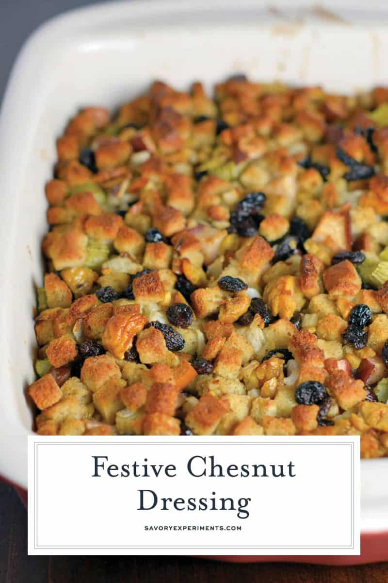 Chestnut Stuffing in a casserole dish